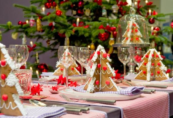 weihnachtsdeko ideen tischdeko weihnachtsbäume lebkuchen