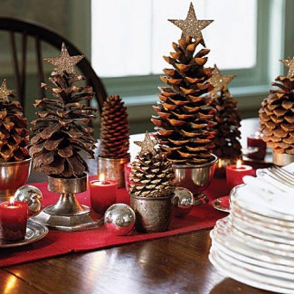 weihnachtsdekoration ideen tischdeko zapfen sterne