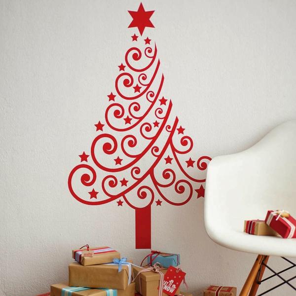 weihnachtsdekoration ideen wandtattoo weihnachtsbaum rot