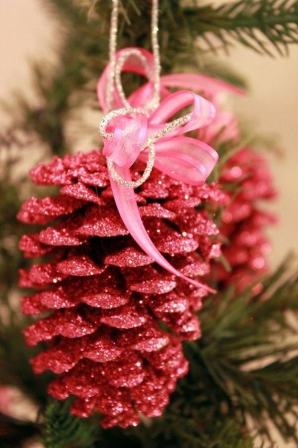 weihnachtsdeko pink zapfen schleifen