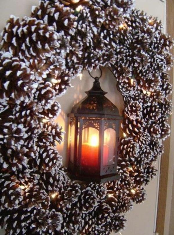 weihnachtsdeko türkranz zapfen laterne