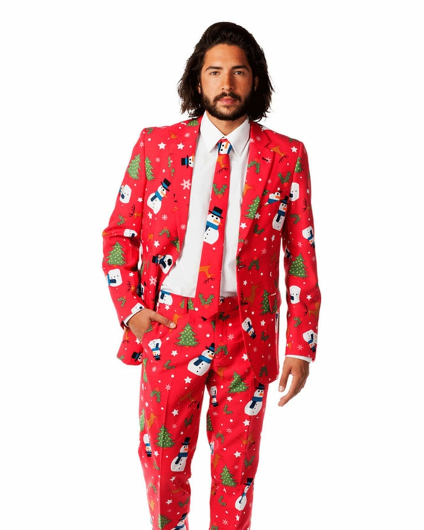 weihnachtspullover anzüge schick elegant schneemann