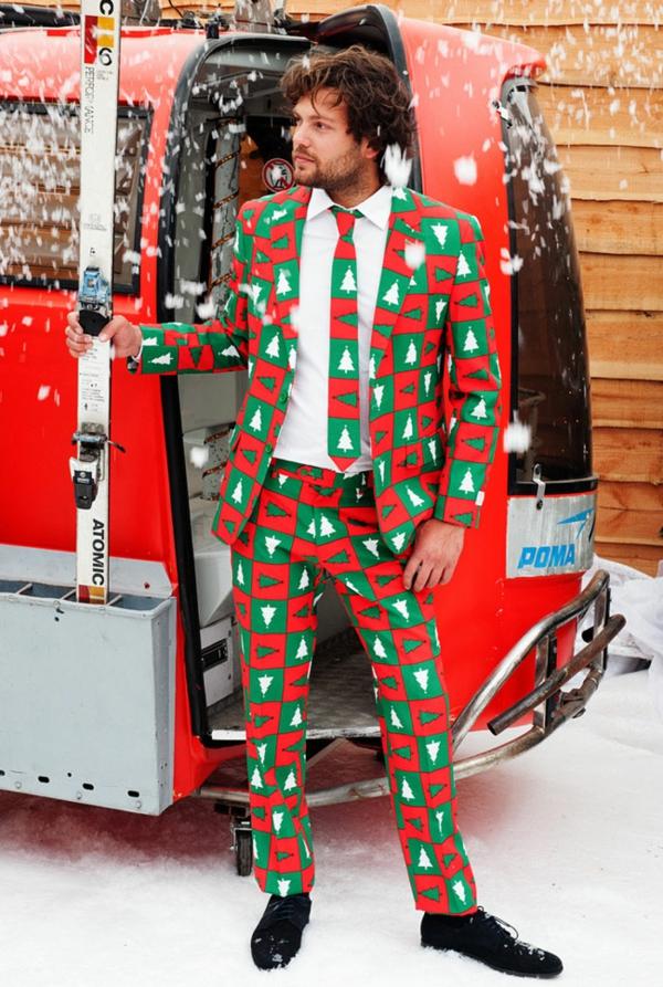 weihnachtspullover anzüge schick grün rot