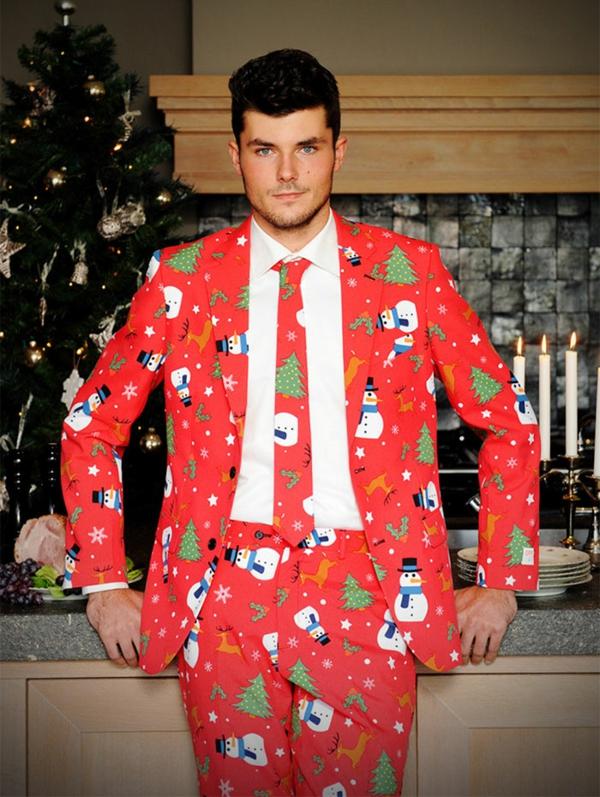 weihnachtspullover herren anzüge schick rot christbaum schneemann
