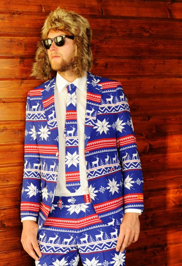 weihnachtspullover anzüge streifen rot blau