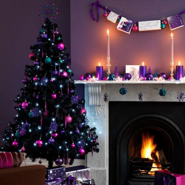 weihnachtsschmuck basteln tannenbaum schmücken baumkugeln lila