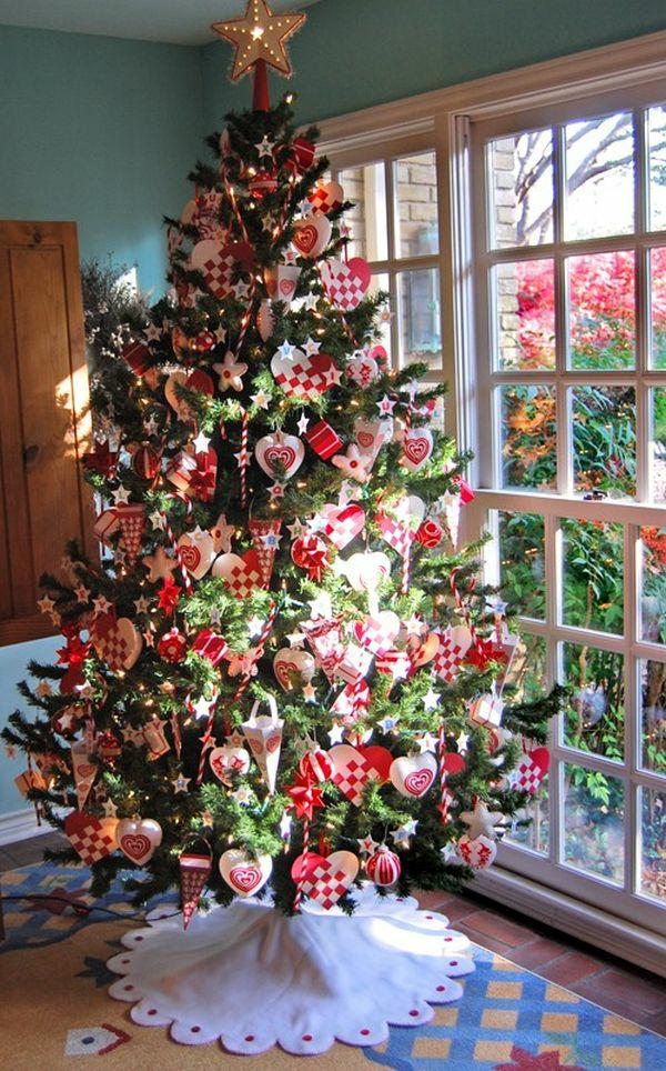 weihnachtsschmuck basteln tannenbaum schmücken rot weiß