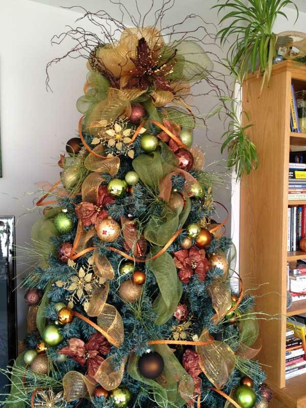 weihnachtsschmuck basteln tannenbaum schmücken stoff girlanden