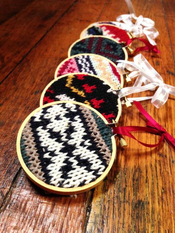 weihnachtsschmuck basteln weihnachtsbasteleien strickornamente