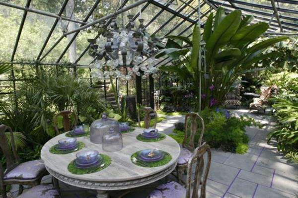 wintergarten gestalten zimmerpflanzen bilder glas überdachung