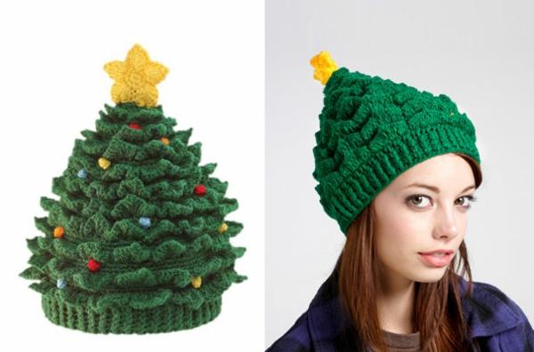 winter mützen damen weihnachtsbaum grün