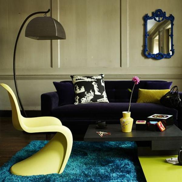 wohnzimmer panton chair gelb designer stühle verner panton