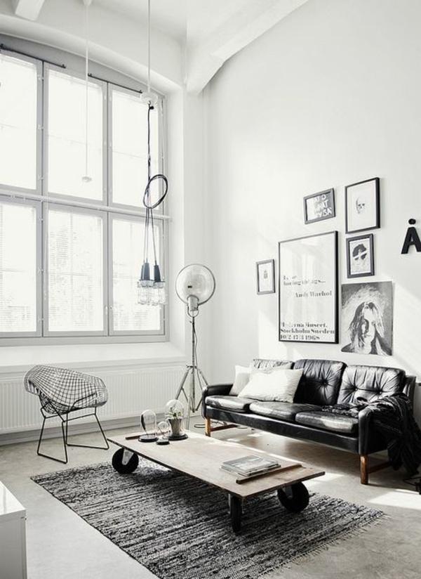 wohnzimmer monochromatisch lampen günstig design schwarz weiß