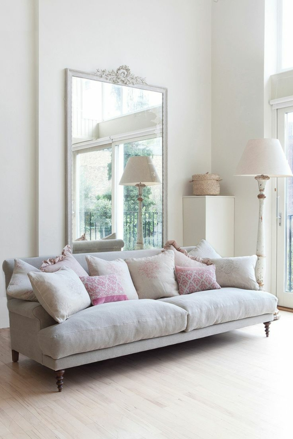 wohnzimmer pastellfarben lampen günstig design sofa grau