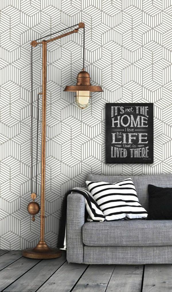 lampen günstig design wohnzimmer sofa kissen stehlampe