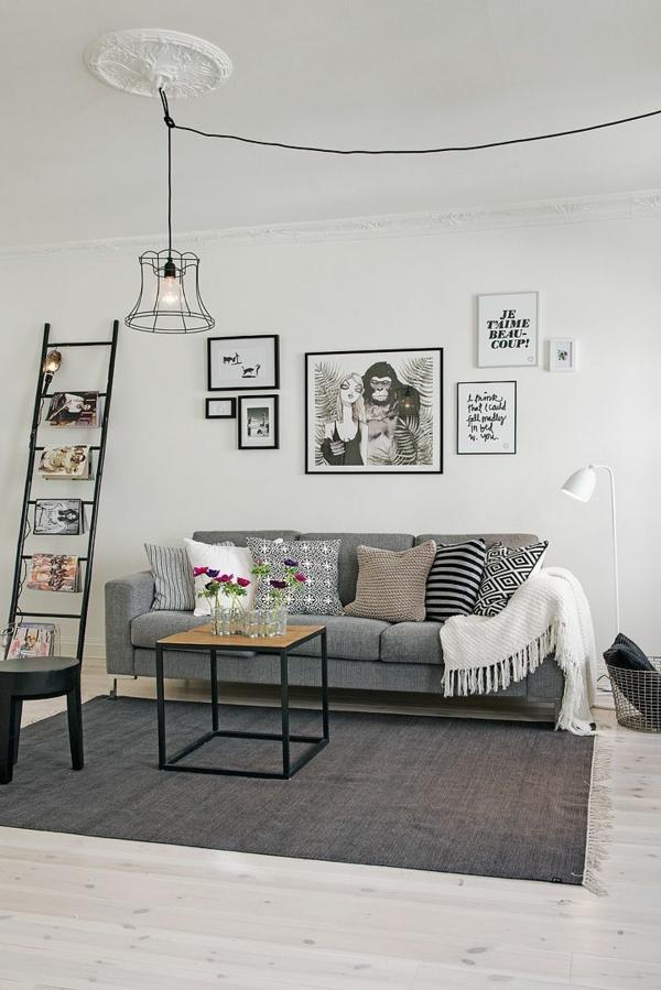wohnzimmer bilderrahmen schwarz lampen günstig design stadt