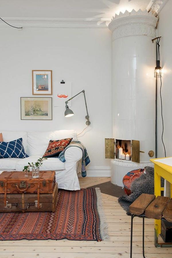 wohnzimmer kaminofen lampen günstig design teppich