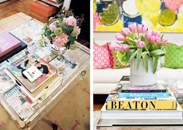 4 Wohnzimmertische Couchtisch Dekorieren Bcher Blumen Deko Ideen