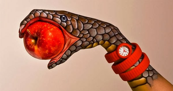 zeitgenössische kunst hand schlange apfel