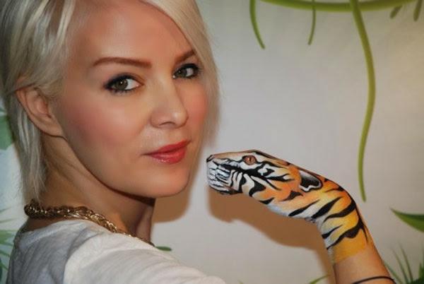 moderne kunst hand tiger