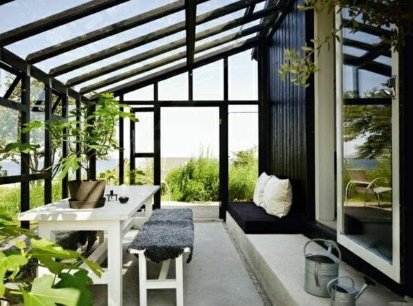 zimmergrünpflanzen glas veranda wintergarten gestalten möbel