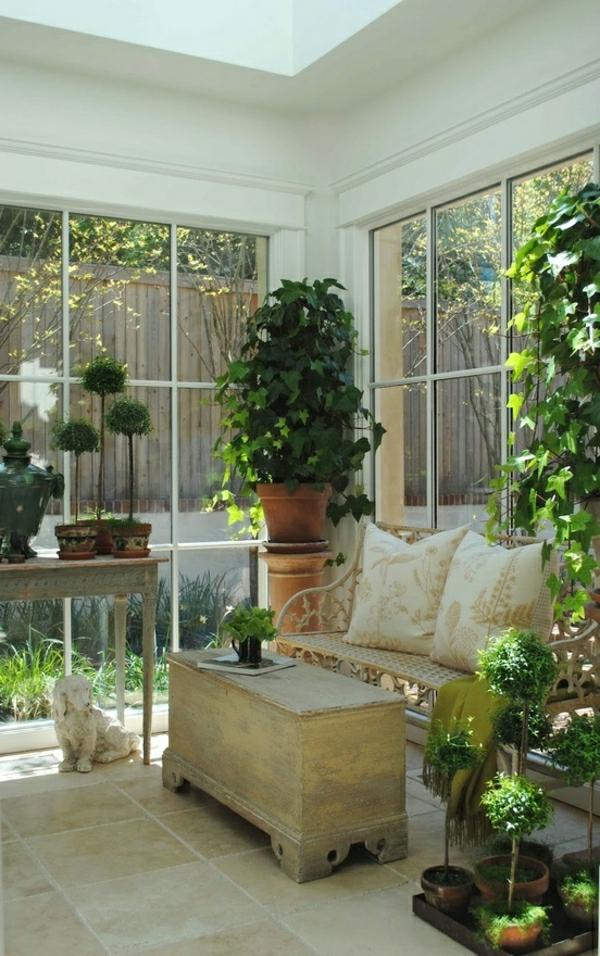zimmergrünpflanzen veranda wintergarten gestalten