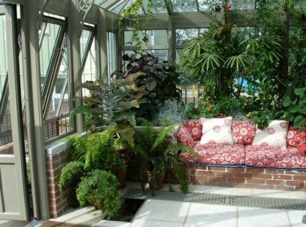 zimmergrünpflanzen veranda wintergarten gestalten möbel sofa