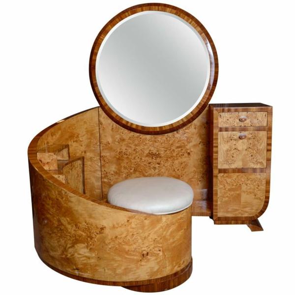 Art Deco möbel rund spiegel korken toilettentisch