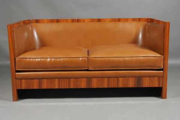 Art Deco Stil leder sofa braun