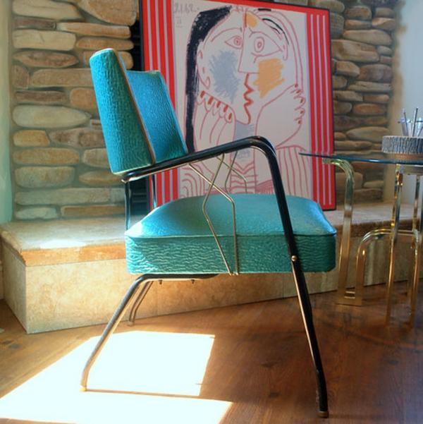 Art Deco möbel stuhl bank türkis bezug