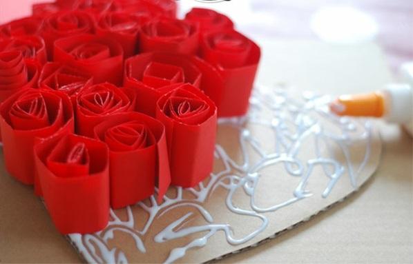 Basteln Valentinstag herz karton rot