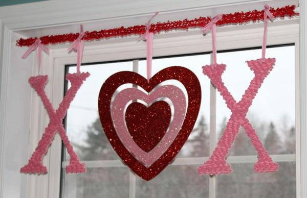 Basteln rosa rot farben Valentinstag xox