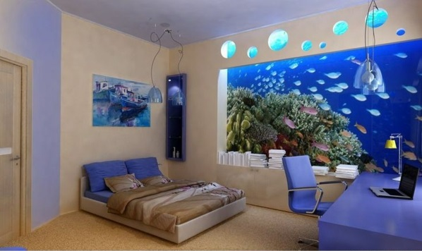 Brillante bett Aquarium Dekoration schlafzimmer