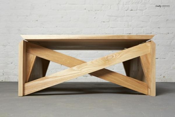 Couchtisch Holz designer wohnzimmertisch gekreuzt