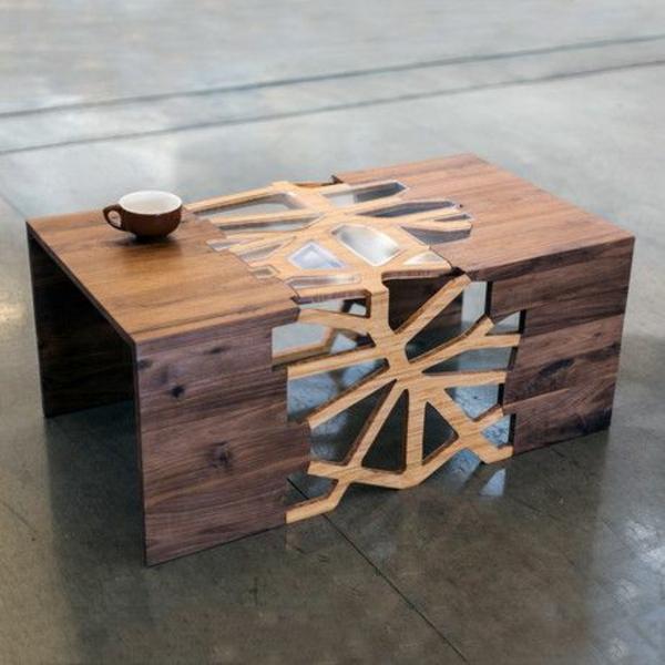 design wohnzimmertisch:Couchtisch aus Holz designer wohnzimmertisch idee