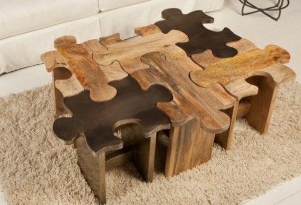 Couchtisch Holz Designer Wohnzimmertisch Puzzle