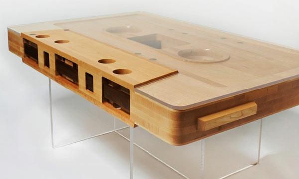 Couchtisch aus Holz kassette plastik akryl