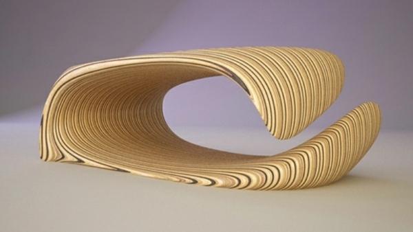 Couchtisch gewickelt Holz  muster streifen textur