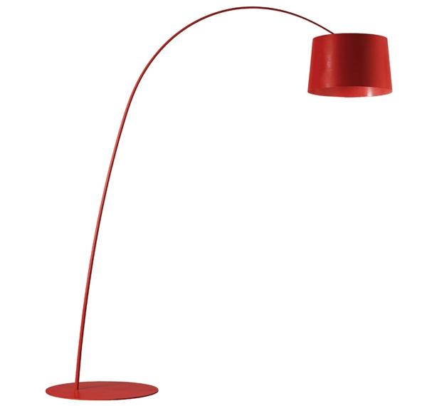 Designer Stehleuchten aus der Leuchtenwelt rot gebogen