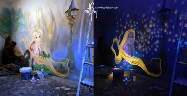 fluoreszierende farbe wandmalerei mit nachtleuchtenden. Black Bedroom Furniture Sets. Home Design Ideas