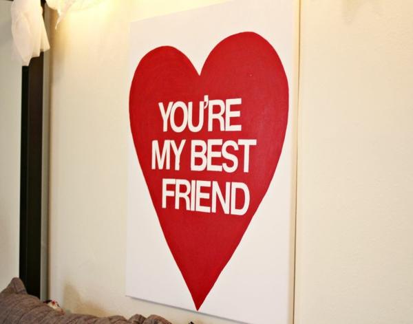 Geschenke rot wanddeko Valentinstag basteln leinwand