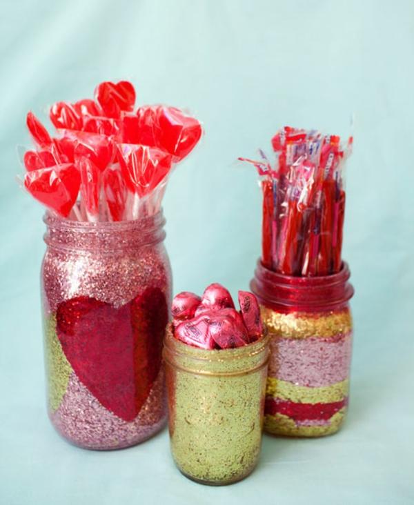 Valentinstag Geschenke lutscher glitzern glas