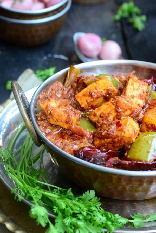 Indisch kochen indisches Essen Karahi Paneer