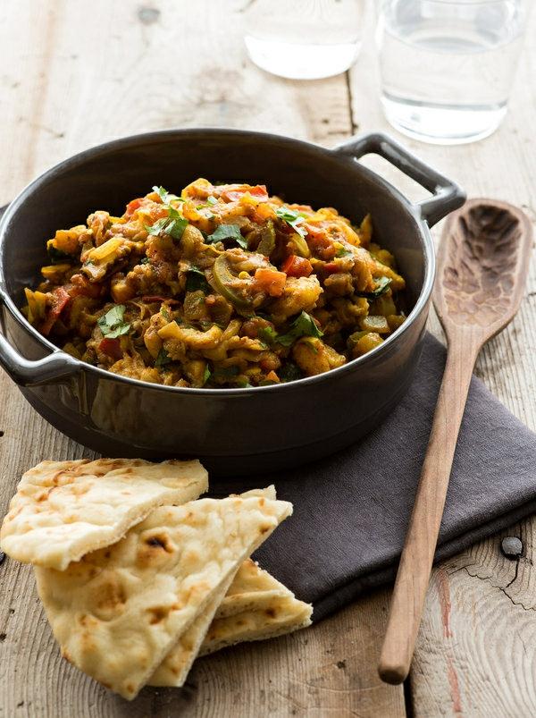 Indisch kochen indisches Essen brot baingan bharta
