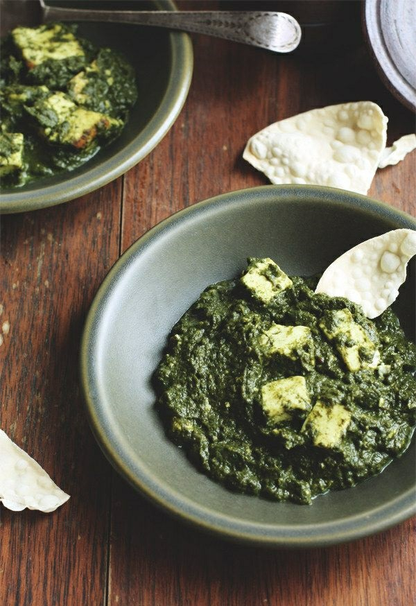 Indisch kochen indisches Essen brot spinat essen