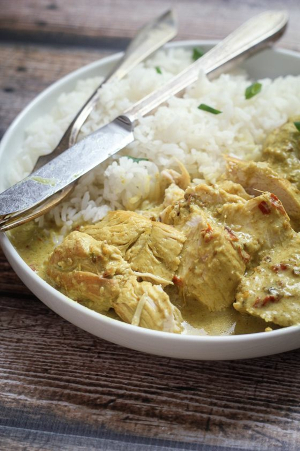 Indisch kochen indisches Essen reis hähnchen curry