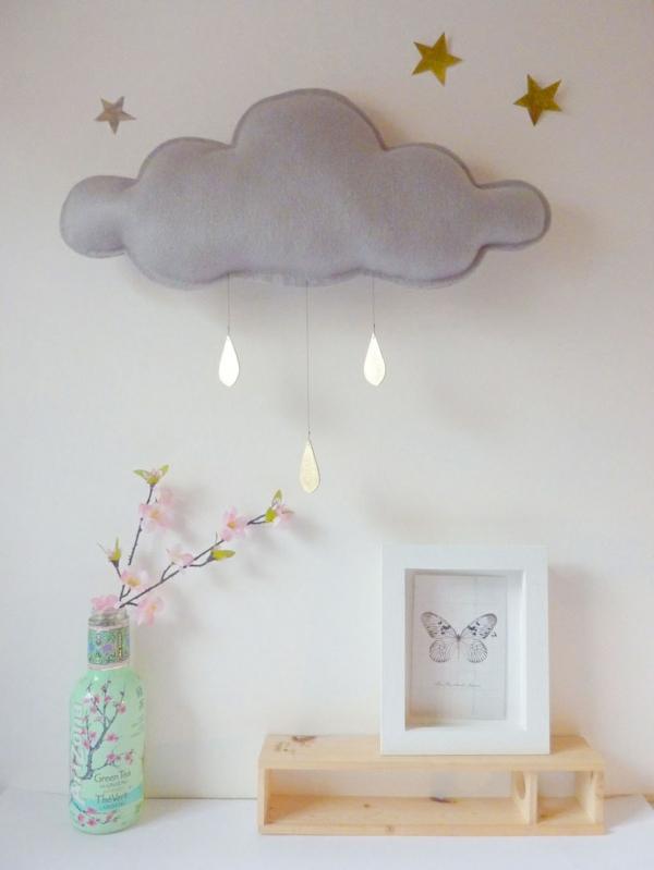 Kinderzimmer Deko selber machen gestalten wolken hängend