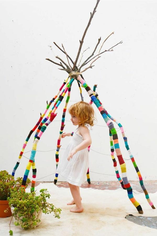 Kinderzimmer zweige Deko selber machen gestalten zelt