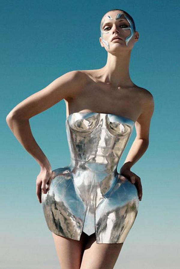 Kleid glanz eigenart Silber metall kollektion