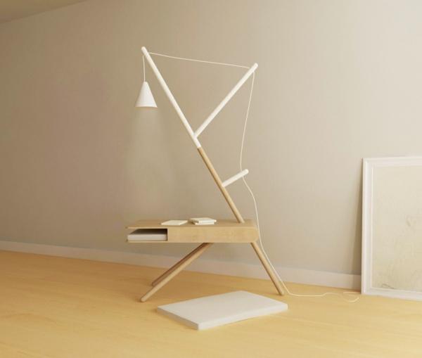 RE LIGHT beistelltisch und leuchte weiß Presek Design Studio